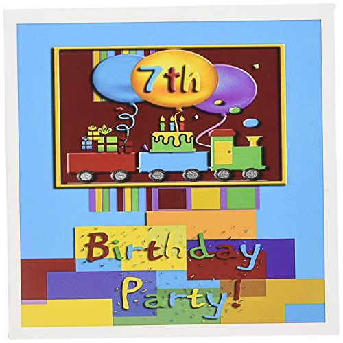 3dRose 7th Choo Choo Train Birthday Party - Greeting Cards, 6 x 6 inches, set of 12 (gc_22411_2) von 3dRose