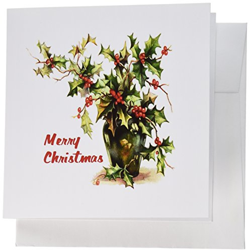 3dRose Holly Leaves Merry Christmas - Greeting Cards, 6 x 6 inches, set of 6 (gc_26639_1) von 3dRose