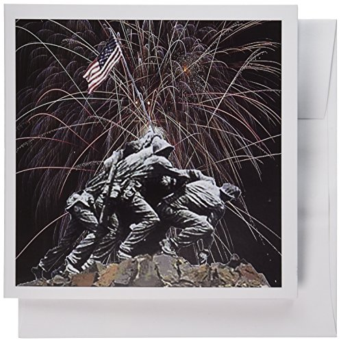 3dRose Marine Corp Memorial with Fireworks - Greeting Cards, 6 x 6 inches, set of 12 (gc_14248_2) von 3dRose