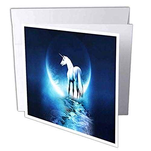 3dRose White Unicorn in Front of Full Moon 6 x 6 Inches Greeting Cards, Set of 12 (gc_54188_2) von 3dRose