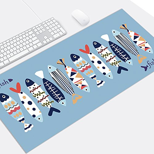 Mauspads Gaming Mauspads Rutschfeste Wireless Mouse Pad Tastatur Alien Mouse Pad einfach große Schwarze Maus Pad, viel Fisch, 600 x 900 mm x 5 mm von @A Office