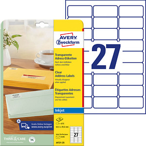 675 AVERY Zweckform Folien-Adressetiketten J4721-25 transparent von AVERY Zweckform