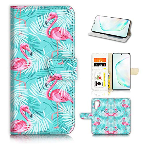 Schutzhülle für Samsung Note 10+, Galaxy Note 10 Plus, Design Flamingo Tropical 22014, Blau von Ajour Pty Ltd