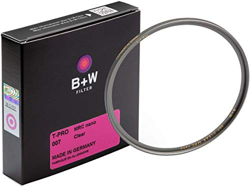 B+W 007 Schutz-Filter, Clear Filter (43mm, T-Pro, Titan-Finish, MRC Nano, 16x vergütet, super Slim, Premium) von B&W