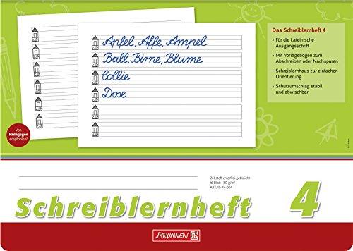 rot A4, quer, Lineatur SL, 16 Blatt A4, Folie, mit Namensschild /& 104052424 Hefth/ülle//Heftumschlag Brunnen 1044040 Schreiblernheft SL