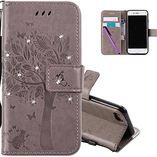 COTDINFOR iPhone 8 Hülle für Mädchen Elegant Retro Premium PU Lederhülle Handy Tasche mit Magnet Standfunktion Schutz Etui für iPhone 7/8 Gray Wishing Tree with Diamond KT. von COTDINFOR
