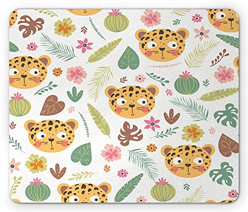 Leopard Mouse Pad, Cute Comic Leopard Head Pattern with Various Types of Exotic Foliage in Repeat, Standard Size Rectangle Non-Slip Rubber Mousepad, Multicolor von Casepillows