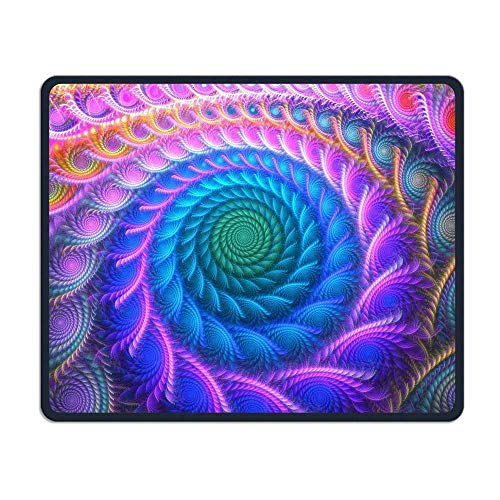 Peacock Feather Trippy Comfortable Rectangle Rubber Base Mousepad Gaming Mouse Pad von Casepillows
