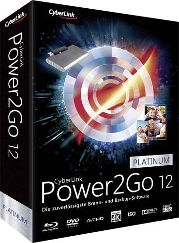 Cyberlink Power2Go 12 Platinum Vollversion, 1 Lizenz Windows Backup-Software von Cyberlink