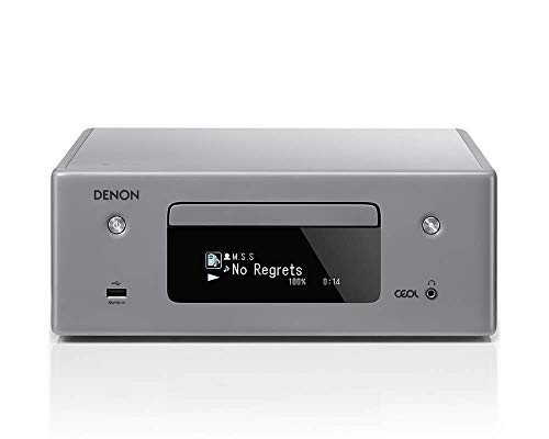 Denon RCD-N10 Kompaktanlage, HiFi Verstärker, CD-Player, Internetradio, Musikstreaming, HEOS Multiroom, Bluetooth & WLAN, AirPlay 2, Alexa Kompatibel, 2 Optische TV-Eingänge, ohne Lautsprecher, grau von Denon