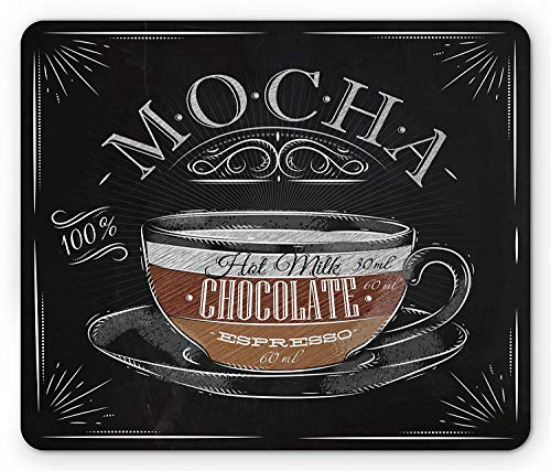 Drempad Gaming Mauspads, Coffee Mouse Pad, Mocha Cup Hot Chocolate Espresso Old Fashioned Italian Chalkboard Design, Standard Size Rectangle Non-Slip Rubber Mousepad, Black Brown Pale Grey von Drempad
