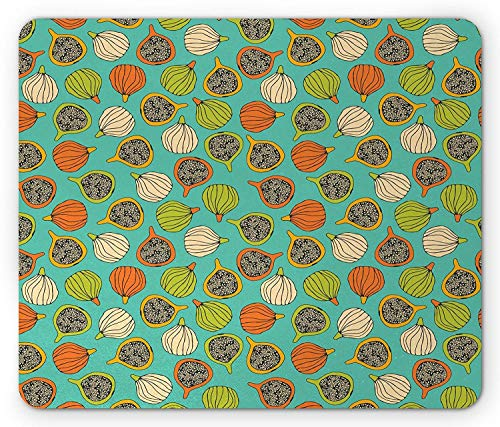 Drempad Gaming Mauspads, Fig Mouse Pad, Whole and Halved Fruits Vegetarian Healthy Design Colorful Retro Summer Plant Pattern, Standard Size Rectangle Non-Slip Rubber Mousepad, Multicolor von Drempad