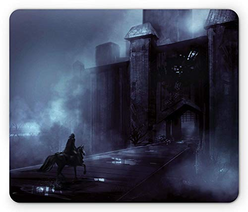 Drempad Gaming Mauspads, Horror House Mouse Pad, Medieval Castle in Foggy Night with a Horseman Riding Travel Gothic Middle Age Print, Standard Size Rectangle Non-Slip Rubber Mousepad, Gray von Drempad