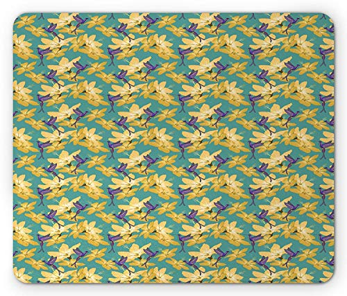 Drempad Gaming Mauspads, Hummingbird Mouse Pad, Colorful Animals with Hawaiian Hibiscus Flowers Tropical Summer, Standard Size Rectangle Non-Slip Rubber Mousepad, Sea Green Yellow Purple von Drempad