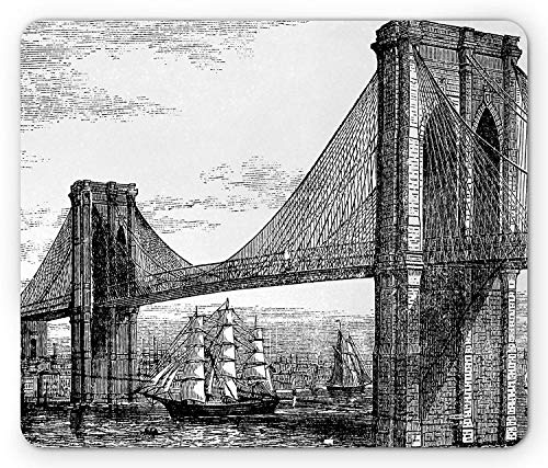 Drempad Gaming Mauspads, New York Mouse Pad, Pencil Drawn Art Illustration of 1890s Style Brooklyn Bridge and East River, Rectangle Non-Slip Rubber Mousepad, Black and White 9.8 X 11.8 INCH von Drempad