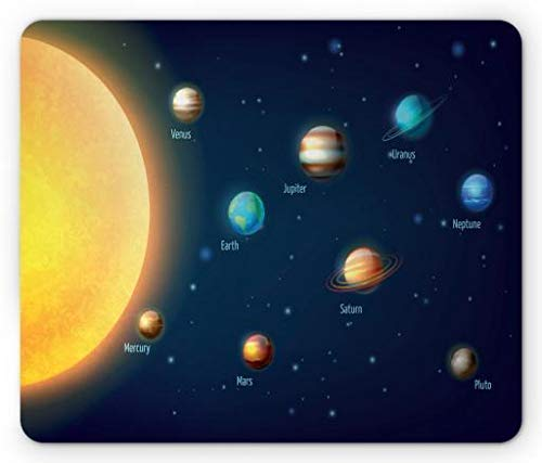 Drempad Gaming Mauspads, Science Mouse Pad, Solar System Design with Sun Earth and Other Planets Space Composition Education, Standard Size Rectangle Non-Slip Rubber Mousepad, Multicolor von Drempad