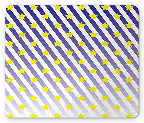Drempad Gaming Mauspads, Star Mouse Pad, Yellow Stars Pattern Diagonal Striped Background Party Decorations Abstract Night Sky, Standard Size Rectangle Non-Slip Rubber Mousepad, Navy Yellow von Drempad
