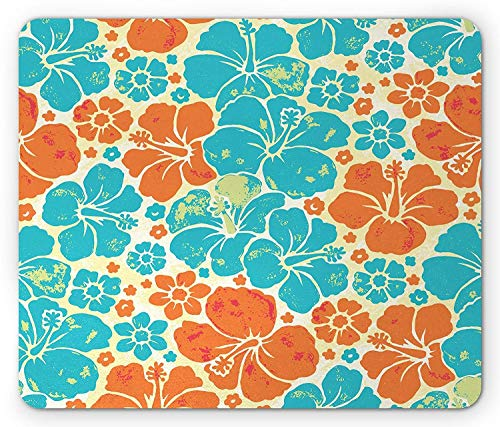 Drempad Gaming Mauspads, Tropical Mouse Pad, Hawaiian Hibiscus Silhouettes Abstract Nature Motifs Grunge Style, Standard Size Rectangle Non-Slip Rubber Mousepad, Orange Pale Blue and Cream von Drempad