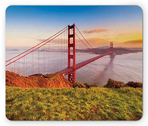 Drempad Gaming Mauspads, USA Mouse Pad by, Golden Gate Bridge, USA Historical Landmark Sunrise Morning View Horizon, Standard Size Rectangle Non-Slip Rubber Mousepad, Sky Blue Red Apple Green von Drempad