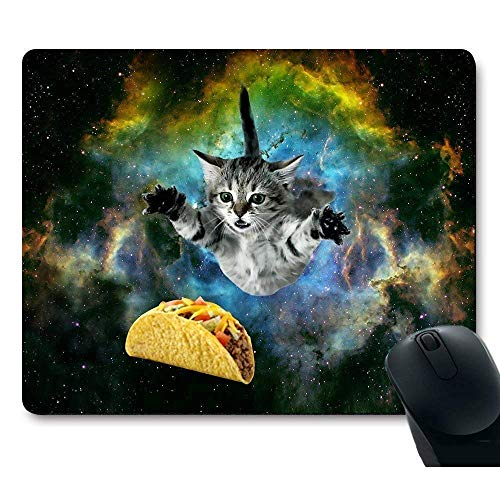 Drempad Gaming Mauspads Custom, Curious Cat Flying Through Space Reaching for a Taco in Space Hilarious Mouse Pad von Drempad