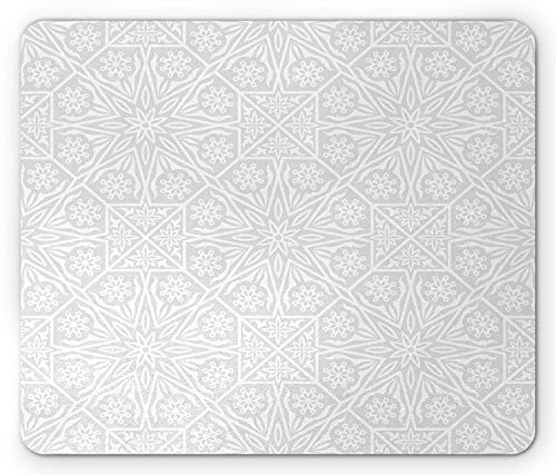 Drempad Gaming Mauspads Custom, Ethnic Mouse Pad, Arabesque Motifs with Abstract Geometric and Minimalist Floral Arrangement Print, Standard Size Rectangle Non-Slip Rubber Mousepad, Grey White von Drempad