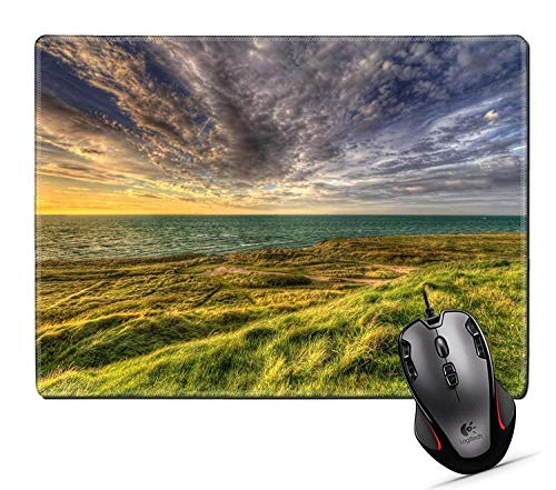 Drempad Gaming Mauspads Custom, Mouse Pad,Unique Printed Mouse Mat Design for Nature Sky Landscape Blue Cloud Grass Water Horizon sea Summer Lake Travel Green Sunrise Beach von Drempad