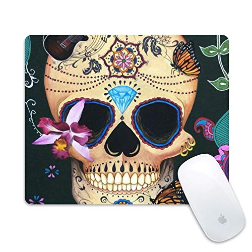 Drempad Gaming Mauspads Custom, Non-Slip Desktop Mousepad Design Gaming Mouse Pad Rubber Oblong Mouse Mat(Flower Skull) von Drempad