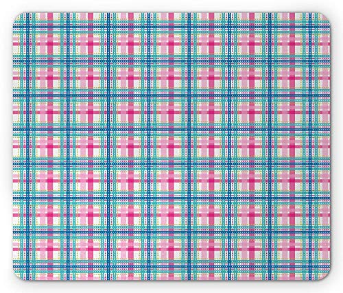Drempad Gaming Mauspads Custom, Plaid Mouse Pad, Vibrant Colored Abstract Geometrical Pattern Scottish Tartan Inspired Retro, Standard Size Rectangle Non-Slip Rubber Mousepad, Blue Green Pink von Drempad