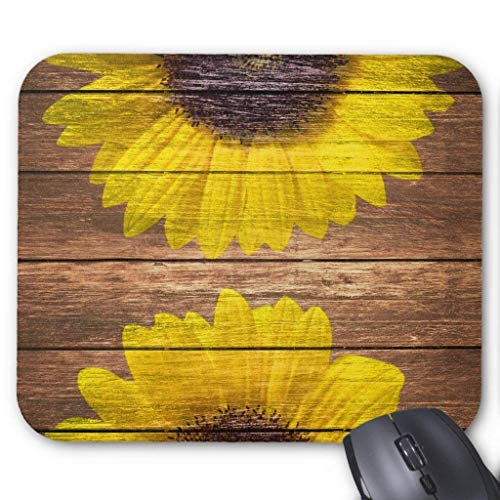 "Drempad Gaming Mauspads Custom, Yellow Sunflowers Rustic Vintage Brown Wood Mouse Pad 11.8""*9.8"" von Drempad"