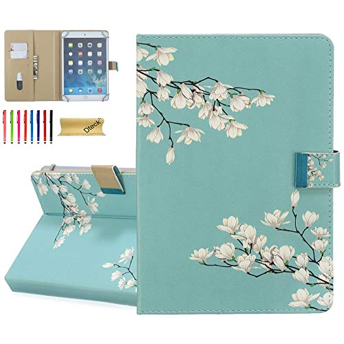 Dteck 8.0-8.4 Zoll Display Universal Tasche Slim Leder Wallet Flip Cover für HD 8 Samsung Galaxy Tab Lenovo Tab Dragon Touch LG G Pad Huawei Android Tablet 8 8.3 8.4 Zoll (Mint White Flower) von Dteck