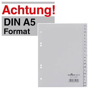 Durable Hunke /& Jochheim Register Z A 215//230 x 297 mm volldeckend DIN A4 10, Wei/ß 24 Blatt PP
