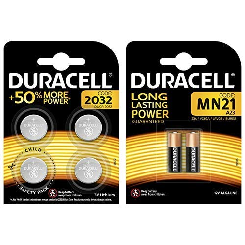 Duracell Specialty 2032 Lithium-Knopfzelle 3 V, 4er-Packung CR2032 /DL2032 entwickelt & Duracell Specialty Alkaline MN21 Batterie 12 V, 2er-Packung (A23 / 23A / V23GA / LRV08 / 8LR932) von Duracell