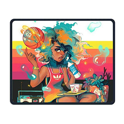 Black Basketball Girl Gaming Mouse Pad Custom Design Non-Slip Rubber Mouse Mat for Desk,Laptop von EJjheadband