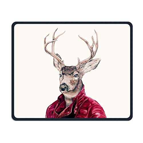 Deer in Leather Gaming Mouse Pad Custom Design Non-Slip Rubber Mouse Mat for Desk,Laptop von EJjheadband