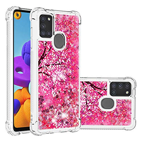 EMAXELER Samsung Galaxy A21S Hülle Cover 3D Kreatives Design Cartoon Muster Anti-Fall Fließen Treibsand Bling Glänzend Flüssigkeit TPU Soft Case für Samsung Galaxy A21S TPU Kirschblüten YB von EMAXELERR