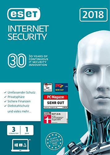 ESET Internet Security 2018 | 3 User | 1 Jahr Virenschutz | Windows (10, 8, 7 und Vista) | Download von ESET