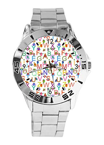 Bunte Cartoon Illustration Eule und Englisch Alphabet Custom Design Analog Armbanduhr Quarz Silber Zifferblatt Klassische Edelstahl-Band Damen Herren Armbanduhr von Ericos