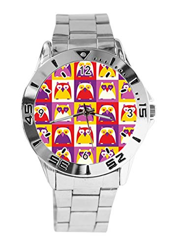 Cartoon Design Eule und buntes Raster Custom Design Analog Armbanduhr Quarz Silber Zifferblatt Klassische Edelstahl-Band Damen Herren Armbanduhr von Ericos