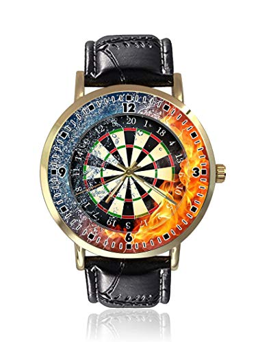 Darts Board Fire Water Damen Herren Uhren Fashion Unisex Leder Casual Quarz Armbanduhr von Ericos