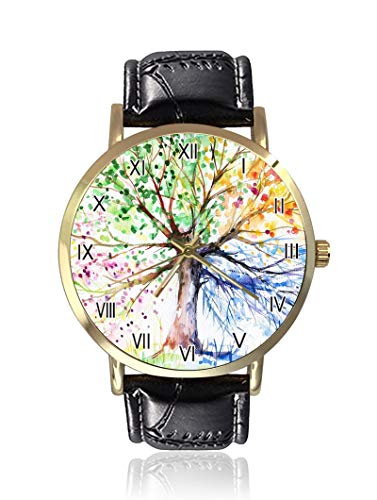 Four Seasons Spring Tree of Life Damen Herren Armbanduhr, modisch, Unisex, Leder, Casual Quarzuhr von Ericos
