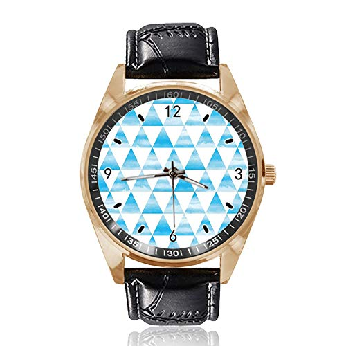 Triangle Blue Custom Design Armbanduhr Analog Quarz Gold Zifferblatt Klassische Lederband Damen Herren Armbanduhr von Ericos