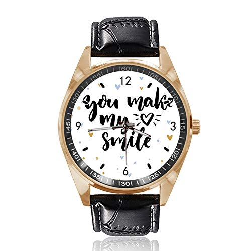 You Make My Smile Custom Design Armbanduhr Analog Quarz Gold Zifferblatt Klassische Lederband Damen Herren Armbanduhr von Ericos