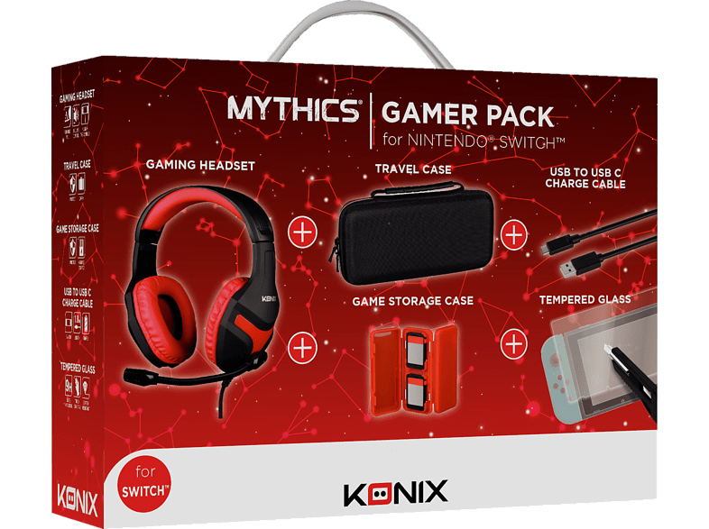 KONIX Switch Gamer Pack (Headset+ Carry Case + Tempered Glass Cable Storage Case), Pack, Schwarz/Rot von KONIX