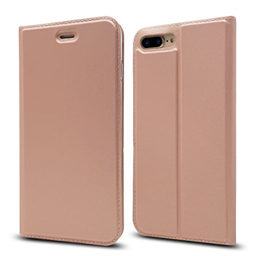 Finemoco Handyhülle für iPhone 7 Plus,Hülle für iPhone 8 Plus Premium PU Leder Folie Case Slim Brieftasche Schutzhülle Flip Cover Silikon TPU Bumper Handytasche Magnetic Closure Standfunktion,Rosa von Finemoco