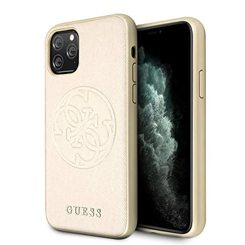 Guess Hülle Saffiano Embossed 4G Circle Logo Serie für iPhone 11 Pro, Gold von Guess