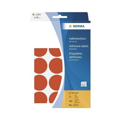 f/ür Druckmaschinen DP1, /Ø 13 mm rund Papier matt 10.000 St/ück rot Herma 2722 Haftetiketten