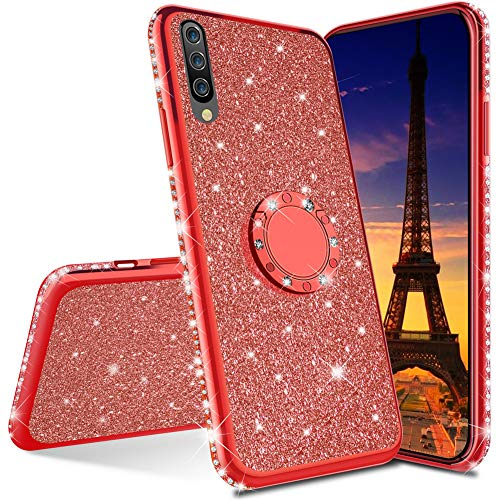 HMTECHUS Huawei Y7 P Rime 2019 Hülle Glitzer Bling Diamant Luxus Plating Silikon TPU Soft Cover mit Ring Ständer Halter Ultra Dünn Schutz Cover für Huawei Y7 P Rime 2019 Plating TPU Rot KDL von HMTECHUS
