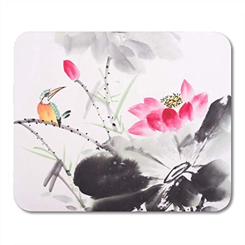 "Gaming Mauspads, Gaming Mouse Pad Animal Kingfisher and Lotus Flower Watercolor Painting Artistic Beautiful Bird Black Bloom Blossom 11.8""x 9.8"" Decor Office Nonslip Rubber Mousepad Mouse Mat von HOTNING"