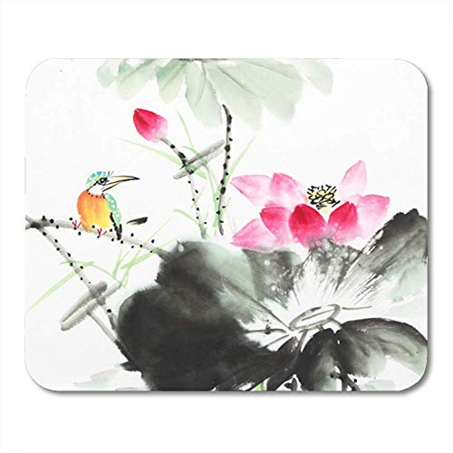 "Gaming Mauspads, Gaming Mouse Pad Black Japanese Kingfisher and Lotus Flower Watercolor Painting White Animal 11.8""x 9.8"" Decor Office Computer Accessories Nonslip Rubber Backing Mousepad Mouse Mat von HOTNING"