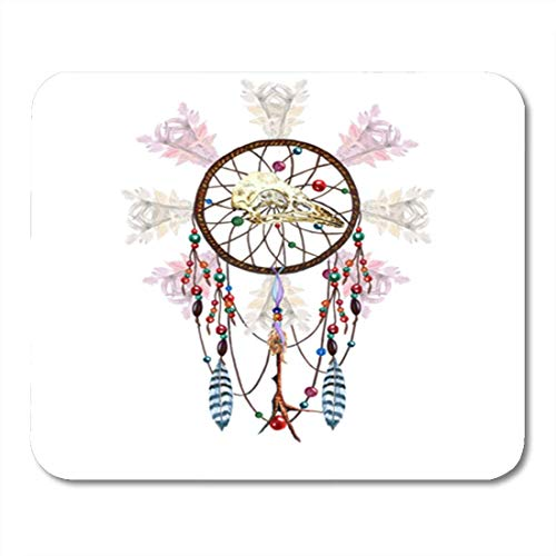 "Gaming Mauspads, Gaming Mouse Pad Catcher Watercolor Dreamcatcher Bird Skull Feathers Chicken Foot Charm Beaded 11.8""x 9.8"" Decor Office Nonslip Rubber Backing Mousepad Mouse Mat von HOTNING"